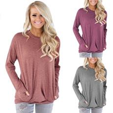 Pocket, Plus Size, Spring/Autumn, Long sleeved