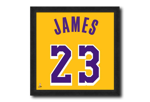 Lebron James Los Angeles Lakers Yellow Jersey NBA Licensed Framed Photo Print