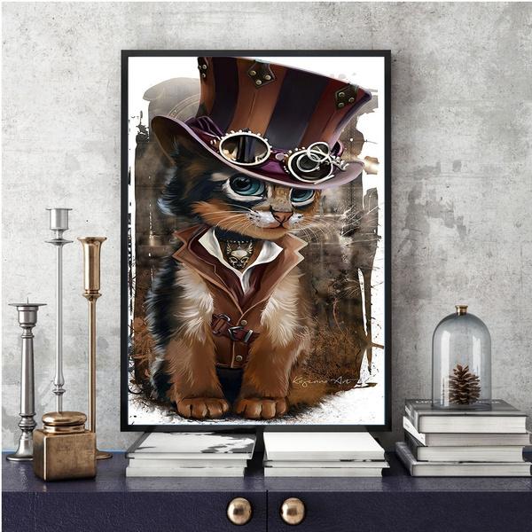 steampunkcat, Decor, art, frameles