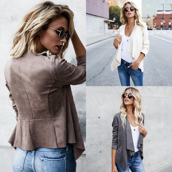 Casual Jackets, womenthincoat, openfrontjacket, Outerwear