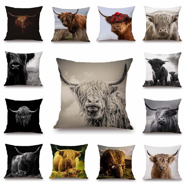 chaircushioncasecover, Cushions, cow, linenpillowcover