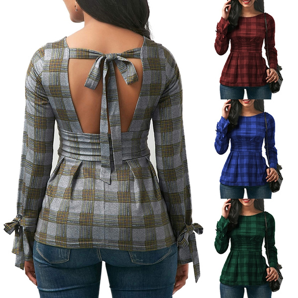 blouse, plaid, Shirt, Long Sleeve