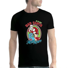 Santa, stitchingtshirt, Holiday, Cotton T Shirt