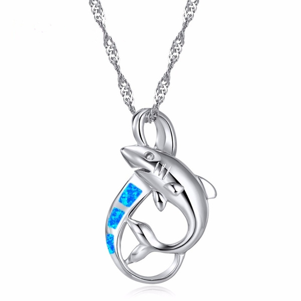 925 sterling silver necklace, cute, Shark, Fashion