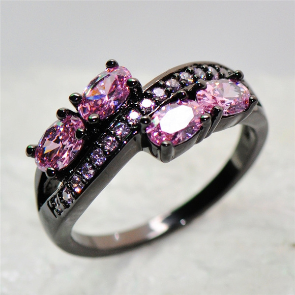blackgoldfilled, pink, wedding ring, pink sapphire