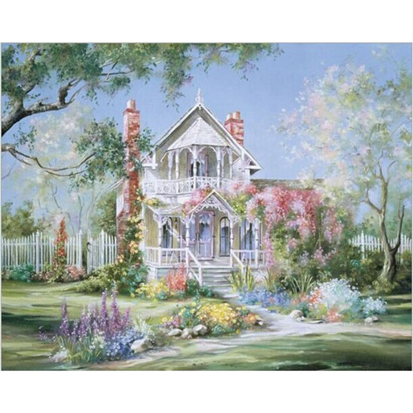 Garden, Oil Painting On Canvas, coloringbynumber, handpainted oil paintings