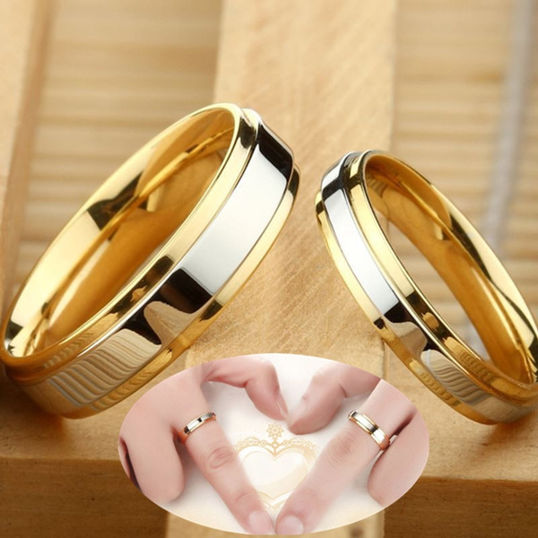 New Simple Design 316 Titanium Steel Couple Rings Luxury 18k Gold Wedding Rings Couple Alliance Wedding Ring 4mm 6mm Width Band Ring For Women And Men Lover Rings Wish