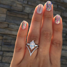 silver plated, Silver Jewelry, crystal ring, Princess