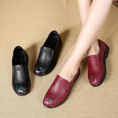 Flats, Genuine, Winter, leather