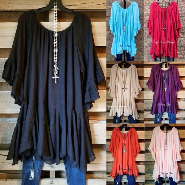 blouse, Summer, Plus Size, ruffle