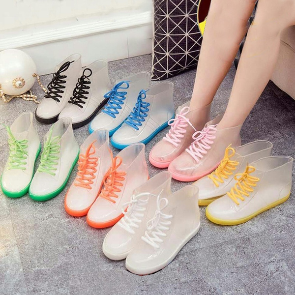 Clear Rain Ankle Boots  Jelly Martin Lace up Flat Rubber Wellies RainshoesWomen//