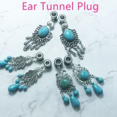 eargaugesplug, Turquoise, Dangle Earring, Jewelry