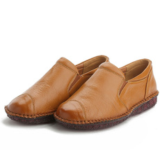 Flats, for, leather, round toe