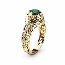 gold, Classics, Engagement Ring, Emerald