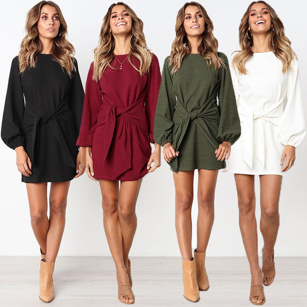 slim dress, Fashion, long sleeved shirt, knittingdres