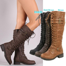 Knee High Boots, Leather Boots, Winter, Combat