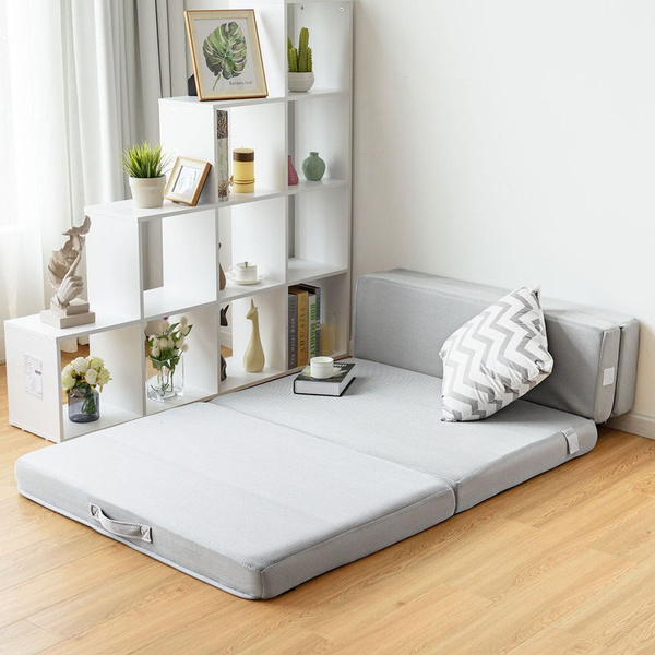 "4"" Full XL Size Foam Folding Mattress Sofa Bed Guests Floor Mat Carrying Handles 
