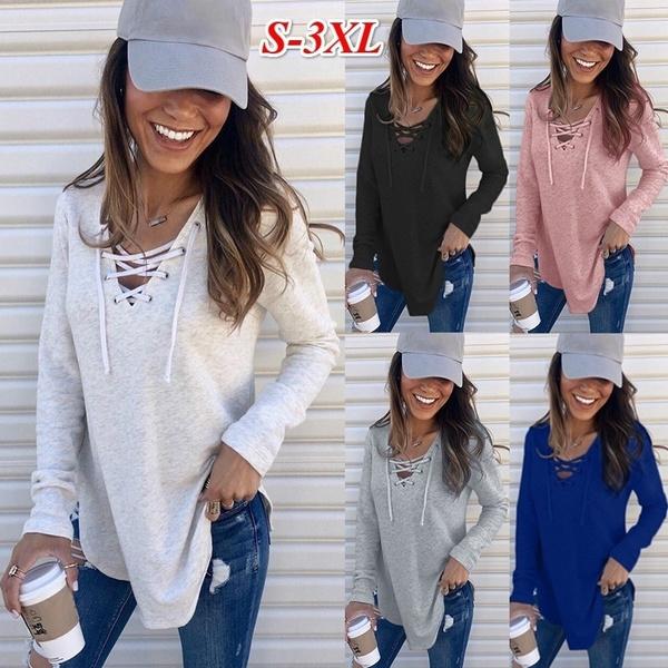 sleeve v-neck, Plus Size, Cotton T Shirt, Sleeve