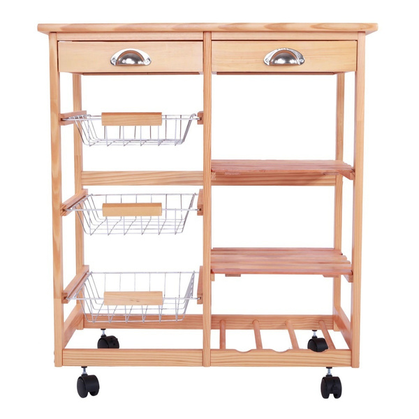 Rolling Wood Kitchen Trolley Cart Dining Storage Drawers Stand Durable W Cabinet Wish