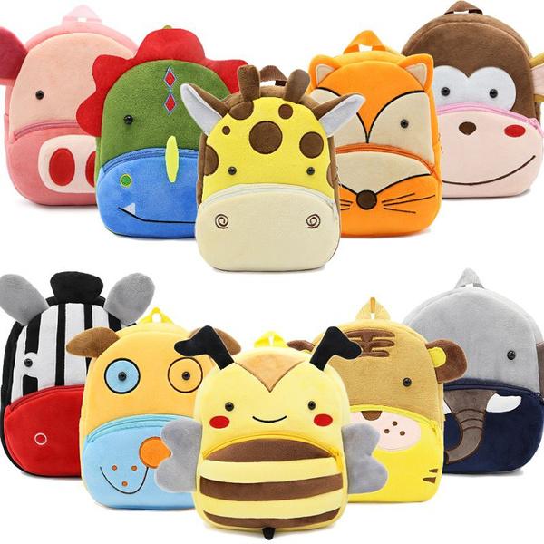 3D Cartoon Plush Children Backpacks Kindergarten School Bag Animal Kids Backpack Children Girls Boys 33 26.5X24X10.5CM