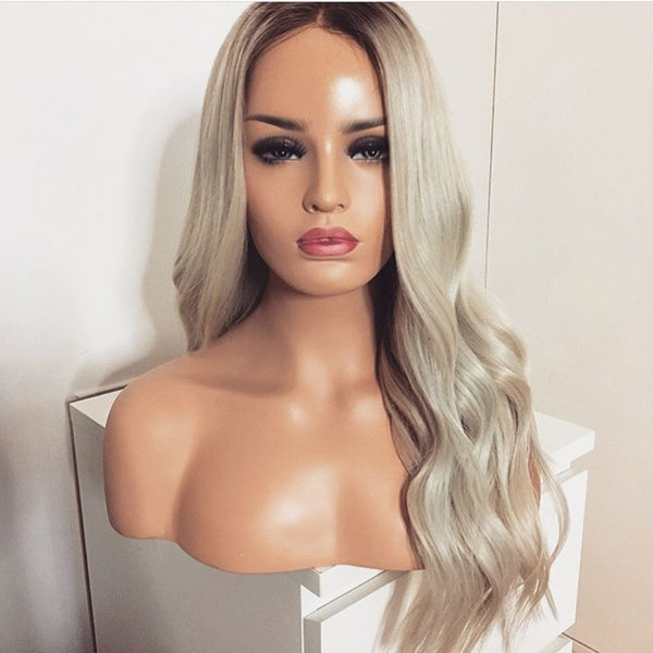 wig, Synthetic Lace Front Wigs, Lace, platinum