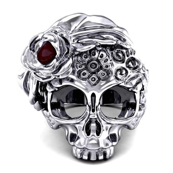 men_rings, Goth, Flowers, Jewelry