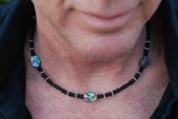 Men  Necklace, Jewelry, hancraftednecklace, abaloneshellnecklace