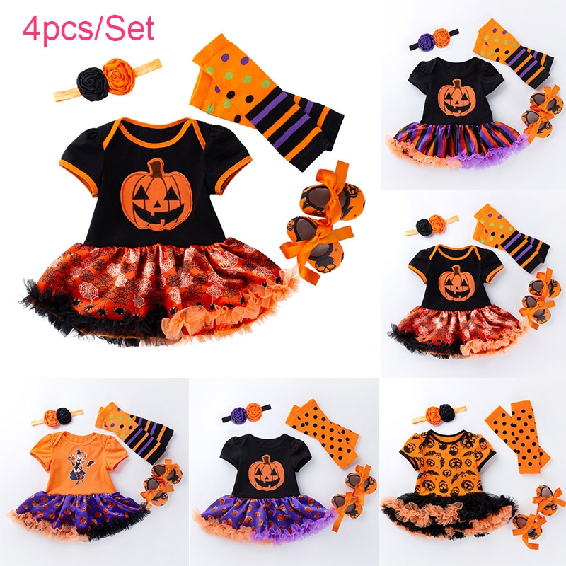 Baby Girls Halloween Outfits My 1st Halloween Romper Tutu Dress Striated Leg Warmer Bunny Headband 4Pcs Outfit Set