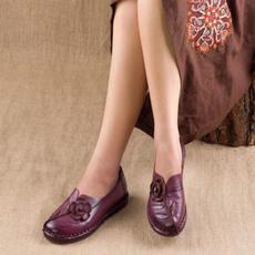 Flats, Genuine, leather, Comfort