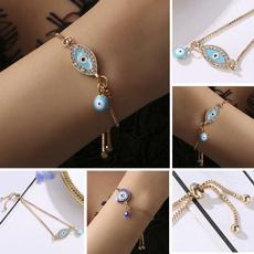 Charm Bracelet, Blues, Adjustable, eye