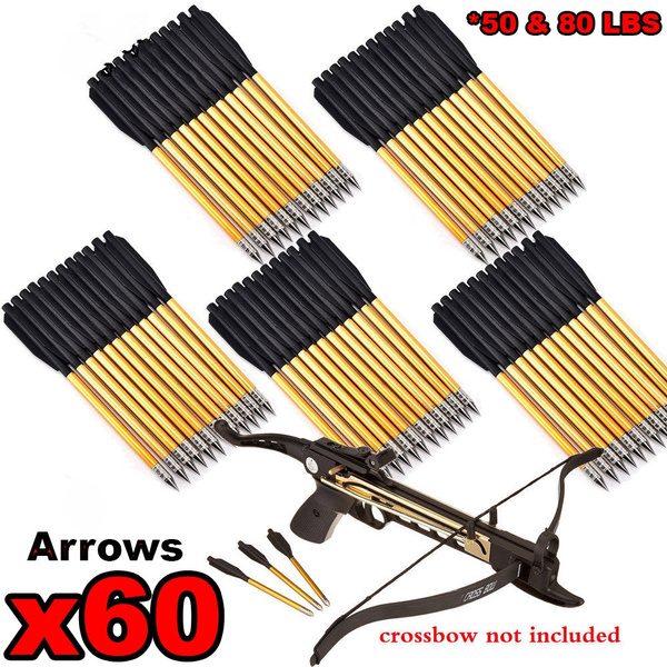 Archery Mini Crossbow Arrow Aluminum Bolts for Pistol 50lb 80 lb Cross Bow 12 pc