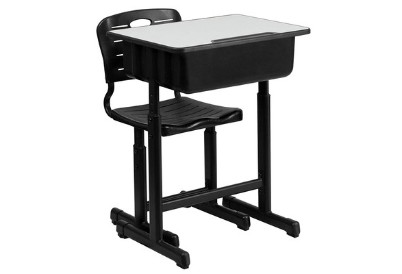 IMSHIE Kids Desk and Chair Kit Adjustable Student Desk and Chair Kit Ergonomic Design Children Study Table School Writing Desk with Storage Drawer,Black