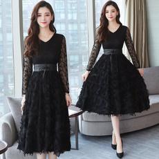 long skirt, slim, Lace, Sleeve