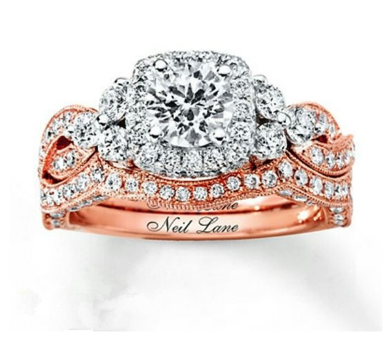 DIAMOND, Princess, gold, ringset