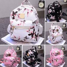 canvasrucksackshouldercollegeschoolbag, Floral, backpacktravelfauxleatherhandbagrucksack, leather