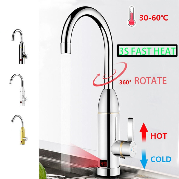 220V 3kW Instant Electric Hot Faucet Fast Water Heater Bathroom Kitchen Tap LED