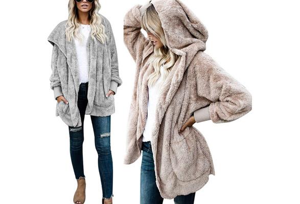 Women s Fuzzy Fleece Oversized Open Front Cardigan Hooded Jacket Outerwear Coat