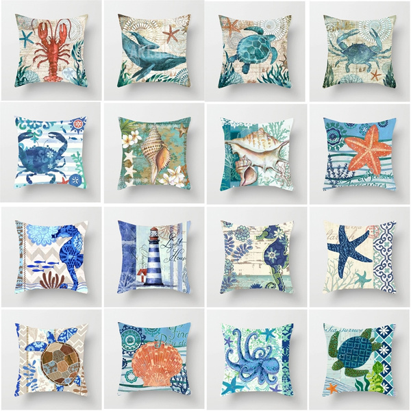 Turtle, swimminganimalpillowcase, Home Decor, starfish