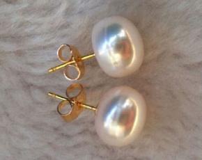 yellow gold, Jewelry, Pearl Earrings, 14kYellow