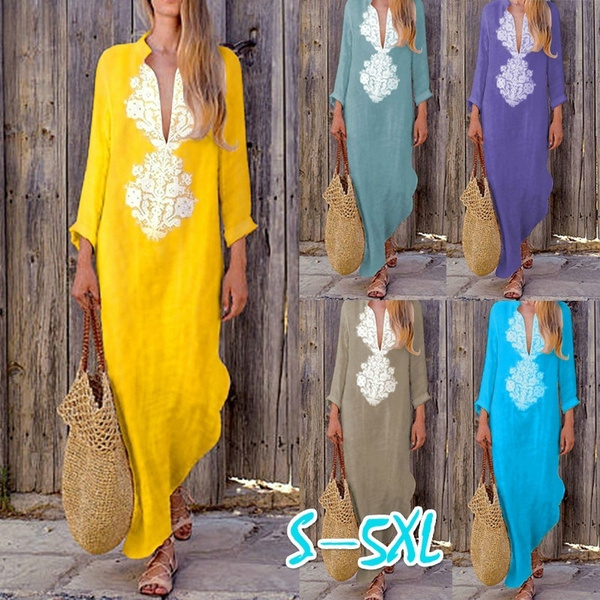 Plus Size, kimono, Spring/Autumn, Deep V-neck Dress
