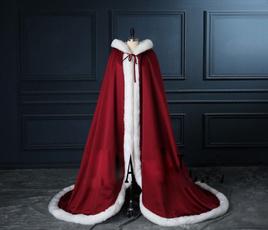 hooded, fur, Medieval, weddingcape
