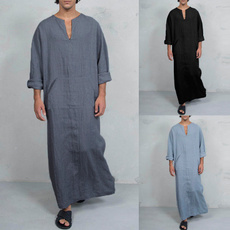 Muslim, Necks, kaftan, Long Sleeve