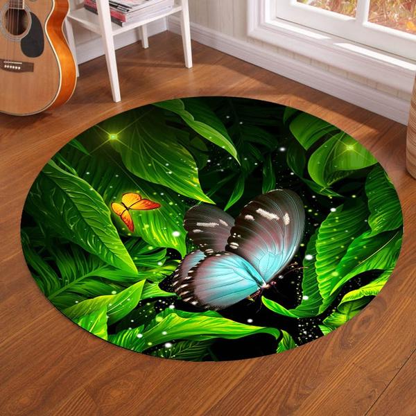 Super Soft Rund Area Rug Butterfly And Green Leaves Print Non Slip Floor Mat For Living Room Bedroom Bathroom Girls Room Diameter 3 28ft Wish