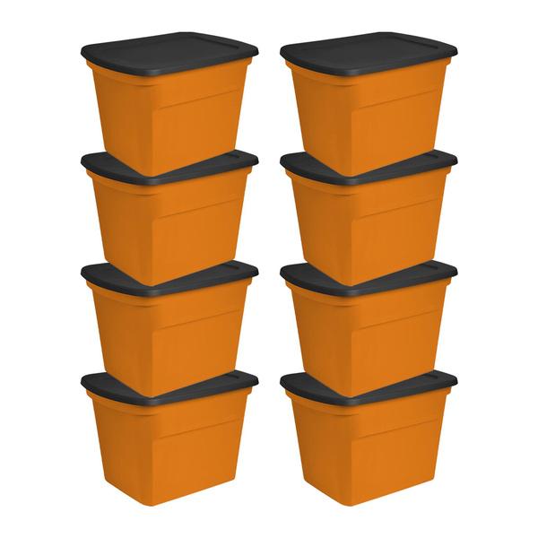 Sterilite 18 Gallon Orange Plastic, Orange Storage Totes With Lids