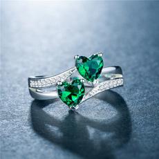 Sterling, Heart, Engagement, emeraldring