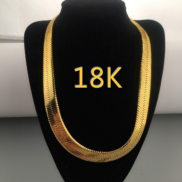 goldplated, Chain Necklace, 18kgoldnecklace, punk necklace