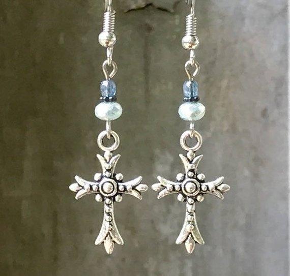 Blues, crossearring, Christian, Jewelry