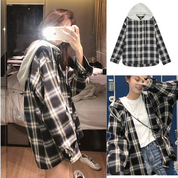 plaid, hooded, Shirt, checkered