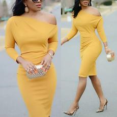 Fashion, one-shoulder, Long Sleeve, Dress