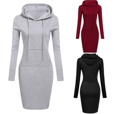women pullover, Pocket, hooded, Sleeve